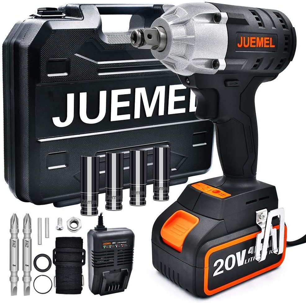 Cordless Impact Wrench 1 2 inch JUEMEL Electric screwdriver Brushless Cordless 238 ft-lb 320N.m Torque Impact Driver Set with 20V 4Ah 2-Speed 1 2 1 4 inch Chuck Collet Detent Anvil 15pcs