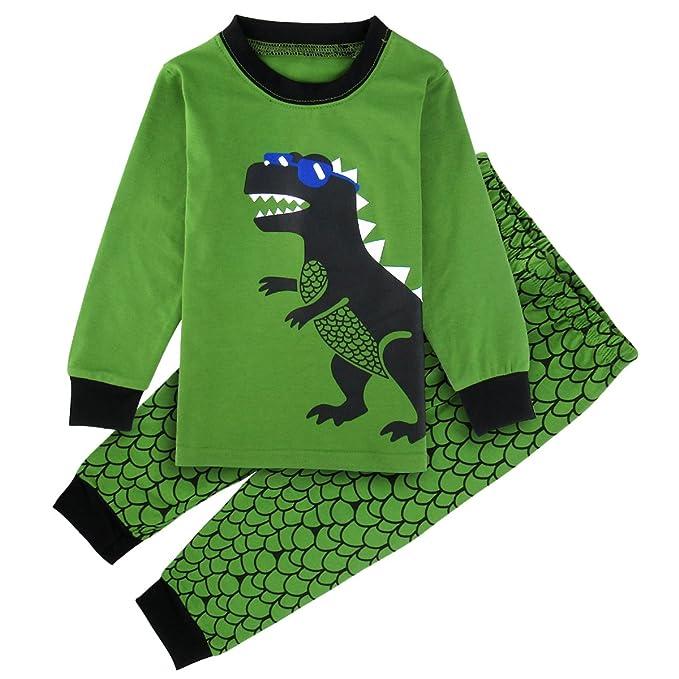 Mombebe Niños Chicos Dinosaurio Conjunto De Pijamas Ropa De Dormir (Dinosaurio, 18-24
