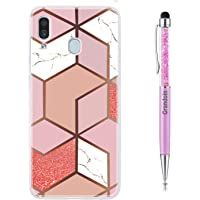 Grandoin Compatible Samsung Galaxy A20 / A30 Case, Marble Print Stone Pattern Design Shockproof Protective Anti-Scratch Ultra-Thin Soft TPU Silicone Rubber Bumper Protector Cover (Rose Gold)