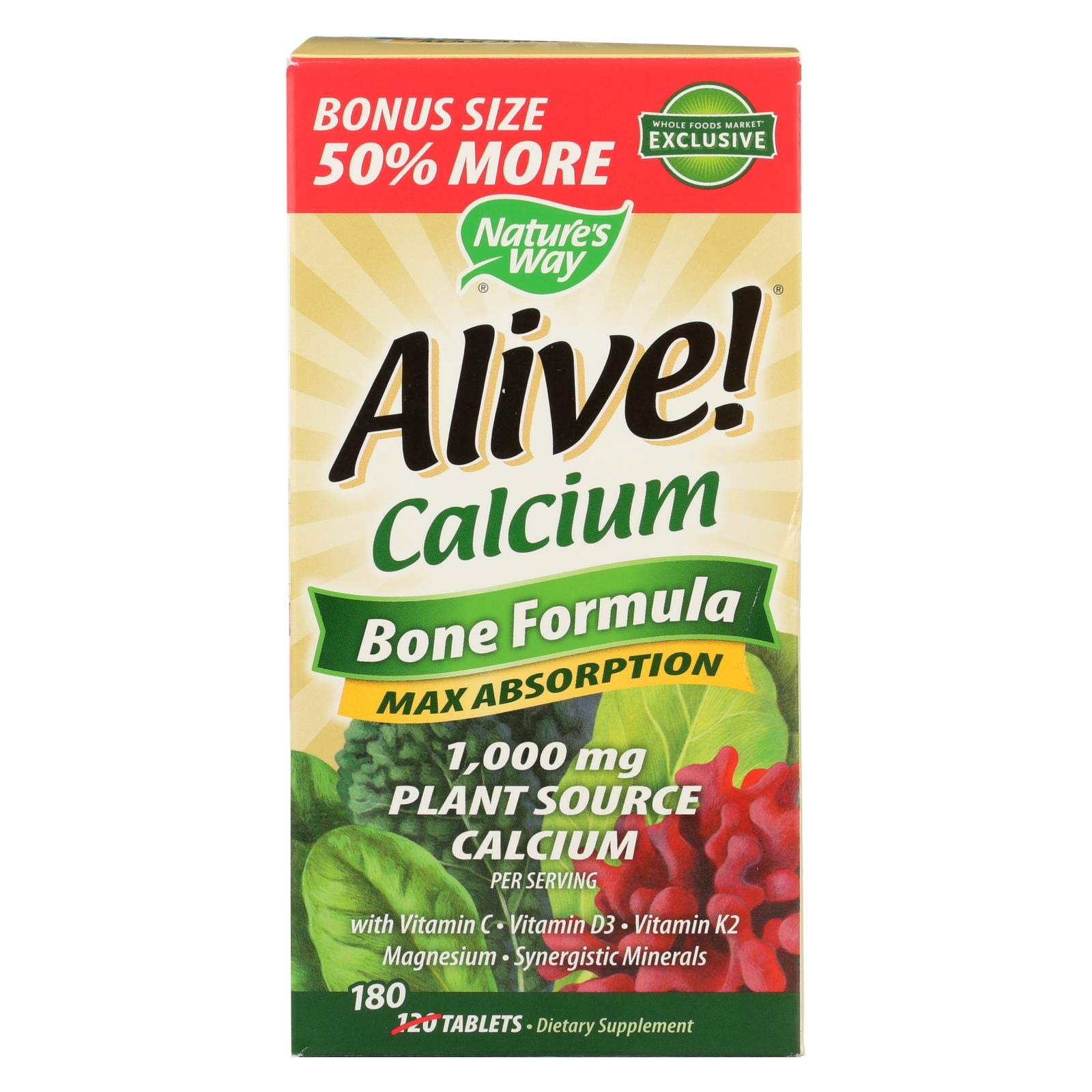 Natures Way Alive! Calcium Bonus Pack, 180 CT