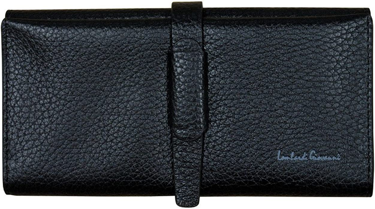 bff42f12bcbe Lombardi Giovanni Women Leather Long Wallet 12 Slots Black 20011 at ...