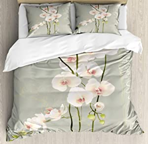 Ambesonne Flower Duvet Cover Set, Orchid Flower Floral Nature Country Inspired Design Petals Stencil Artwork, Decorative 3 Piece Bedding Set with 2 Pillow Shams, Queen Size, Pink Grey