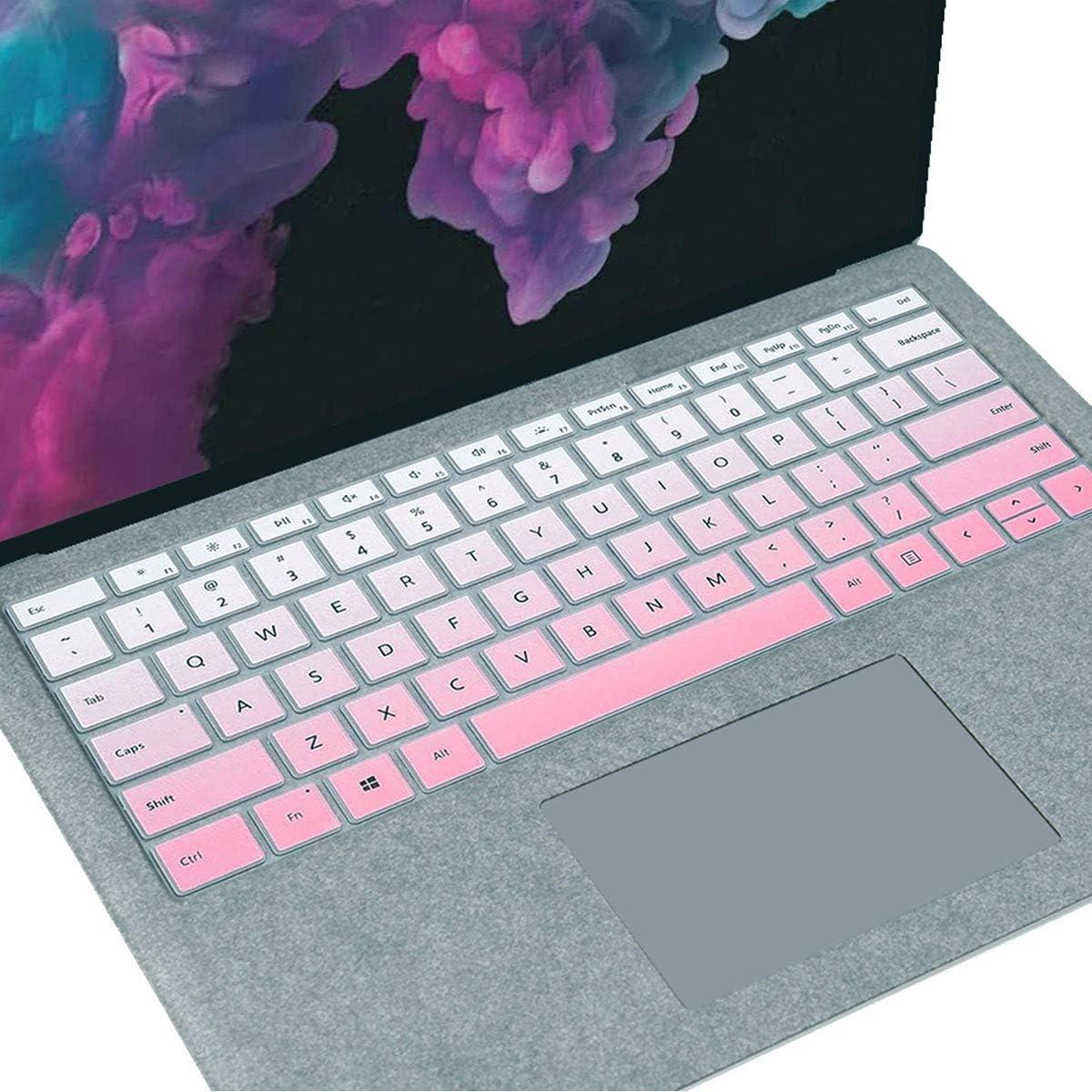 "MUBUY Keyboard Cover Fit 2020 2019 Microsoft Surface Pro 7 |2019 2018 Surface Pro 6 |Surface Pro 5 |Surface Pro 4 12.3"" Premium Ultra Thin Keyboard Protective Skin, US Layout -Gradual Pink"