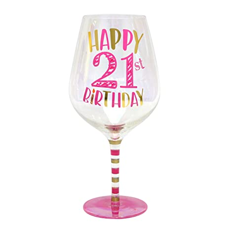 Top Shelf Decorative Luster Glass Oversized 21st Birthday Wine With Gift Box Unique And