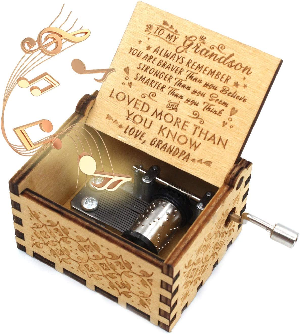 ukebobo Wooden Music Box- You are My Sunshine Music Box, from Grandpa to Grandson, Gifts for Kids - 1 Set