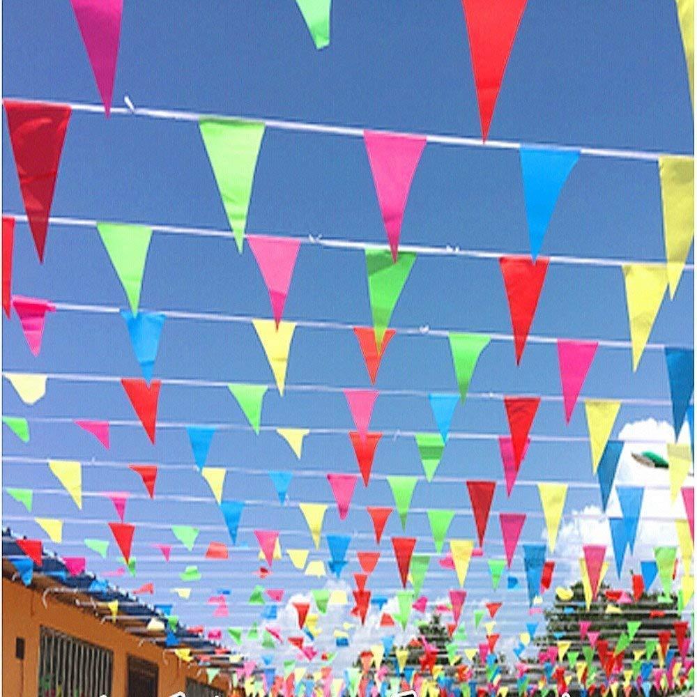 TOMYEER 80 Metros Bunting Partido Colores Tri/ángulo Banner Bandera Cuerda Colgando decoraci/ón