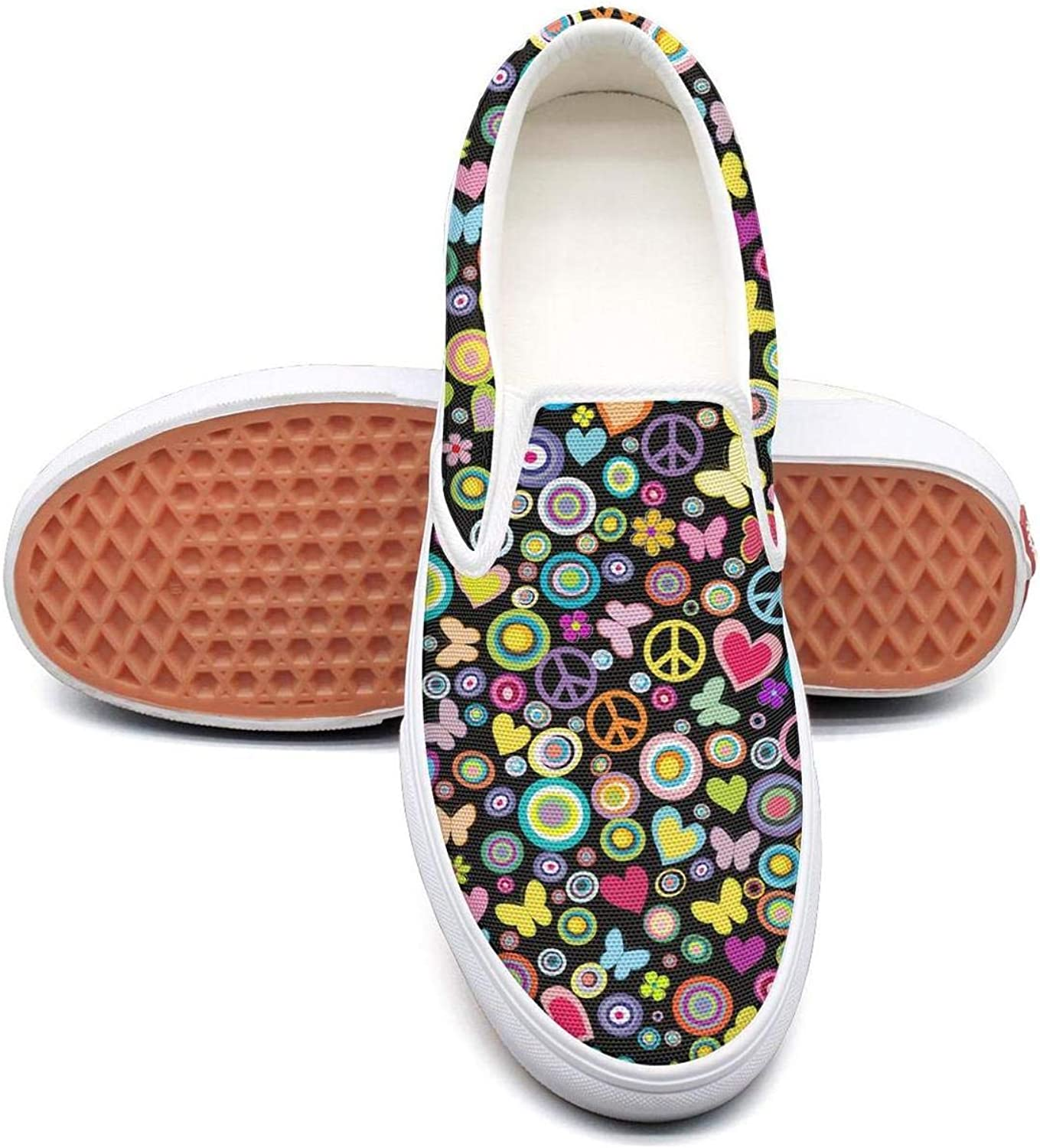Peace symbols with heart Classic Women Canvas Slip-On Shoes Sneaker