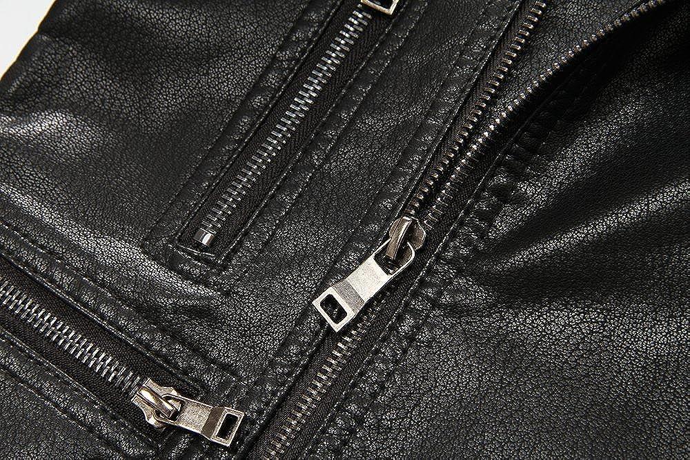 LJYH Boys Zipper Faux Leather Coat Spring Autumn Moto Jacket Black 3-12years