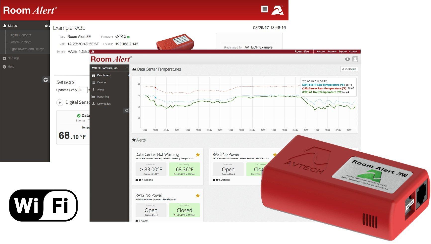 Room Alert 3 Wi-Fi Temperature & Environment Monitor, Alert, Log, Graph, Cloud, Map, More