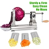 WellToBe Spiral Vegetable Slicer, Tri-Blade Stainless Steel Vegetable Spiralizer, One-hand Veggie Pasta Spaghetti Maker for Zucchini Slicer with 4 Strong Hold Suction