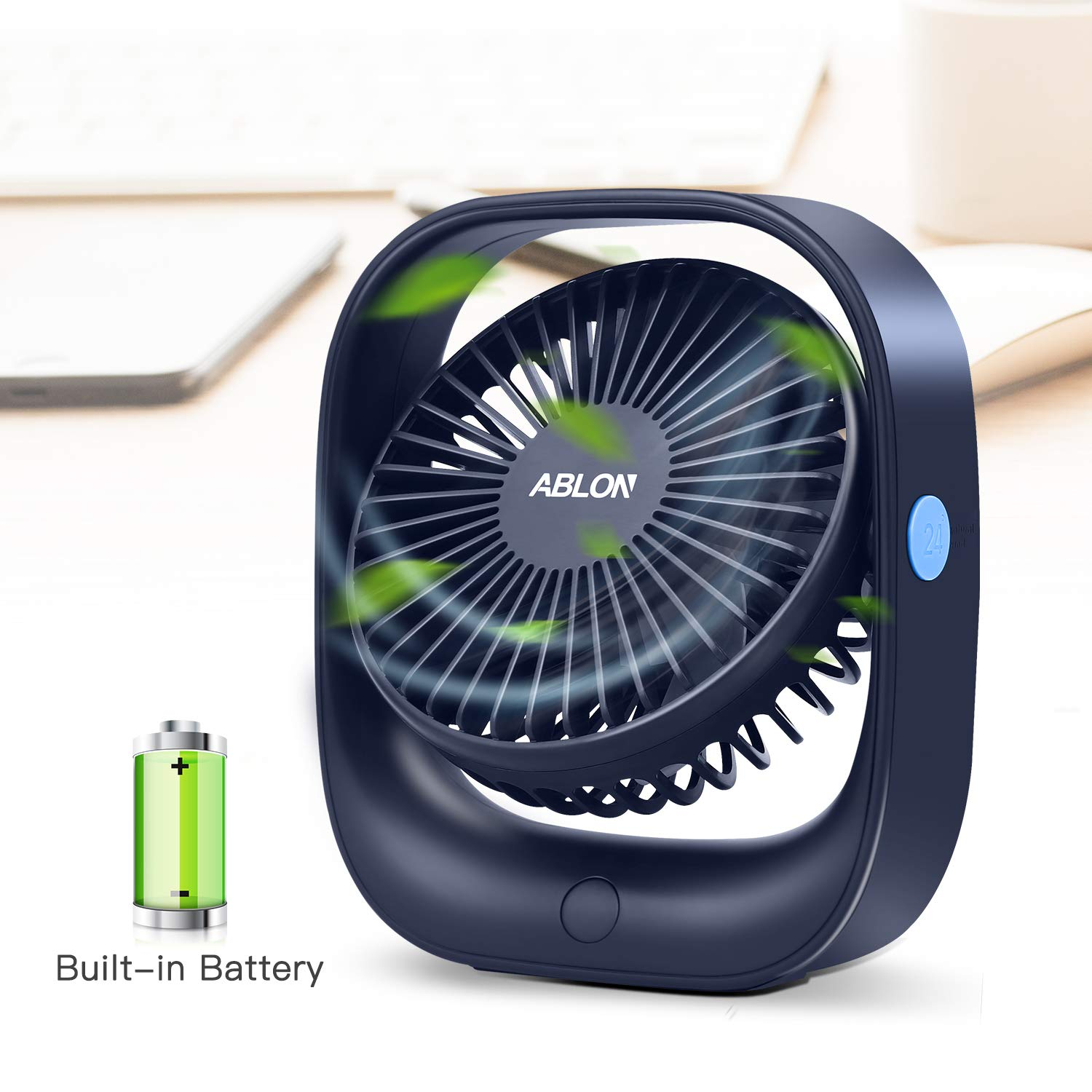 Ablon Portable Desk Fan with 2000mAH Rechargeable Battery, Battery Operated or USB Powered Personal Handheld Fan, 3 Speed Settings for Travel, Office, Camping