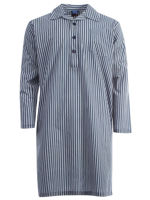 Harvey James Poly Cotton Garn gefärbt Herren Nachthemd Pyjama Mid Blau Hellblau M - XXL