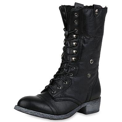 SCARPE VITA Damen Stiefel Schnürstiefel Nieten Boots Leder-Optik Schnürer  165716 Schwarz 41 d52547f161