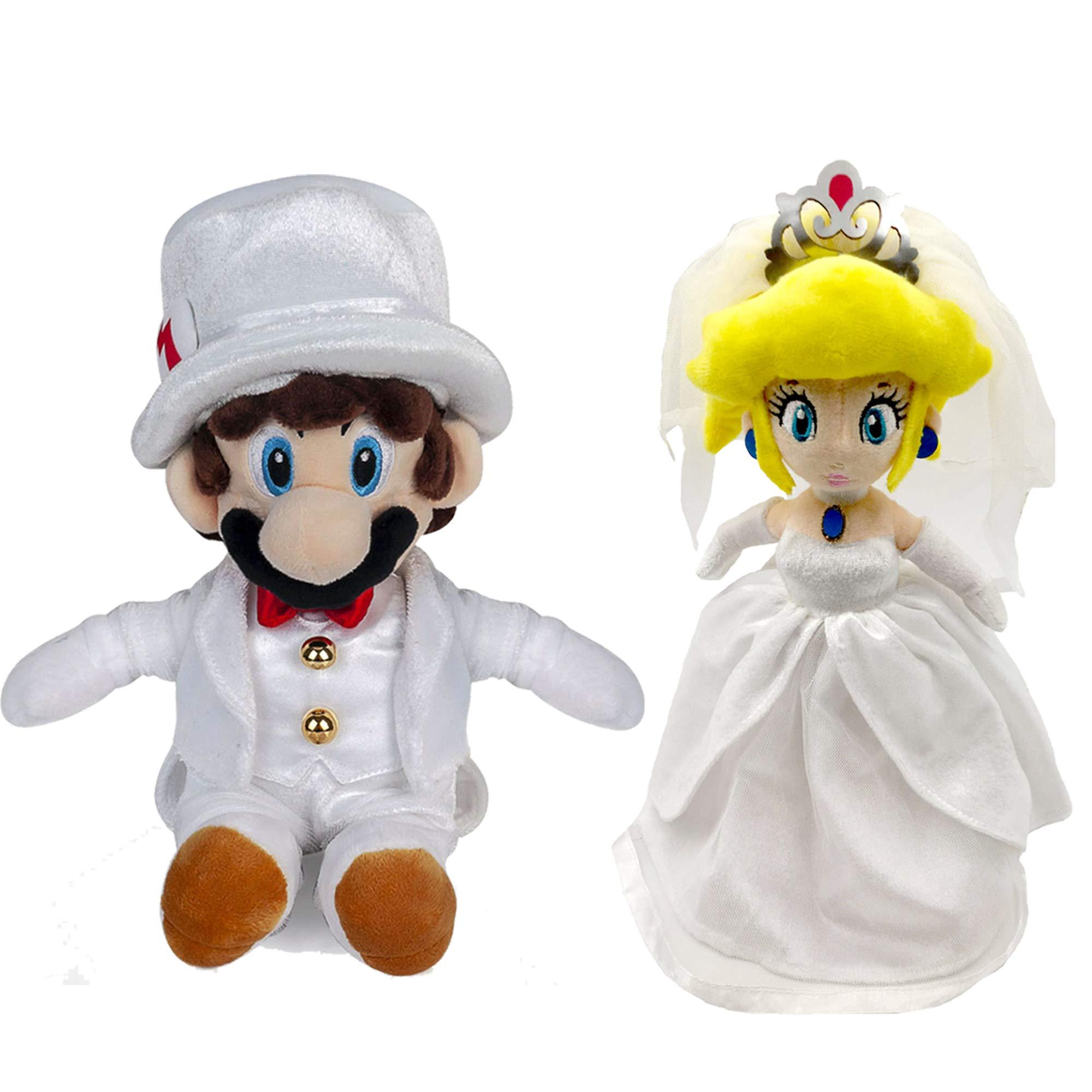 Super Mario Odyssey Princess Peach Mario Wedding Dress Plush Toy Stuffed Animal (Pack of 2) by Generic