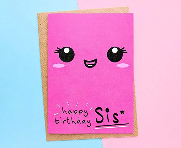 Sister Birthday Card Kawaii Face Big Little