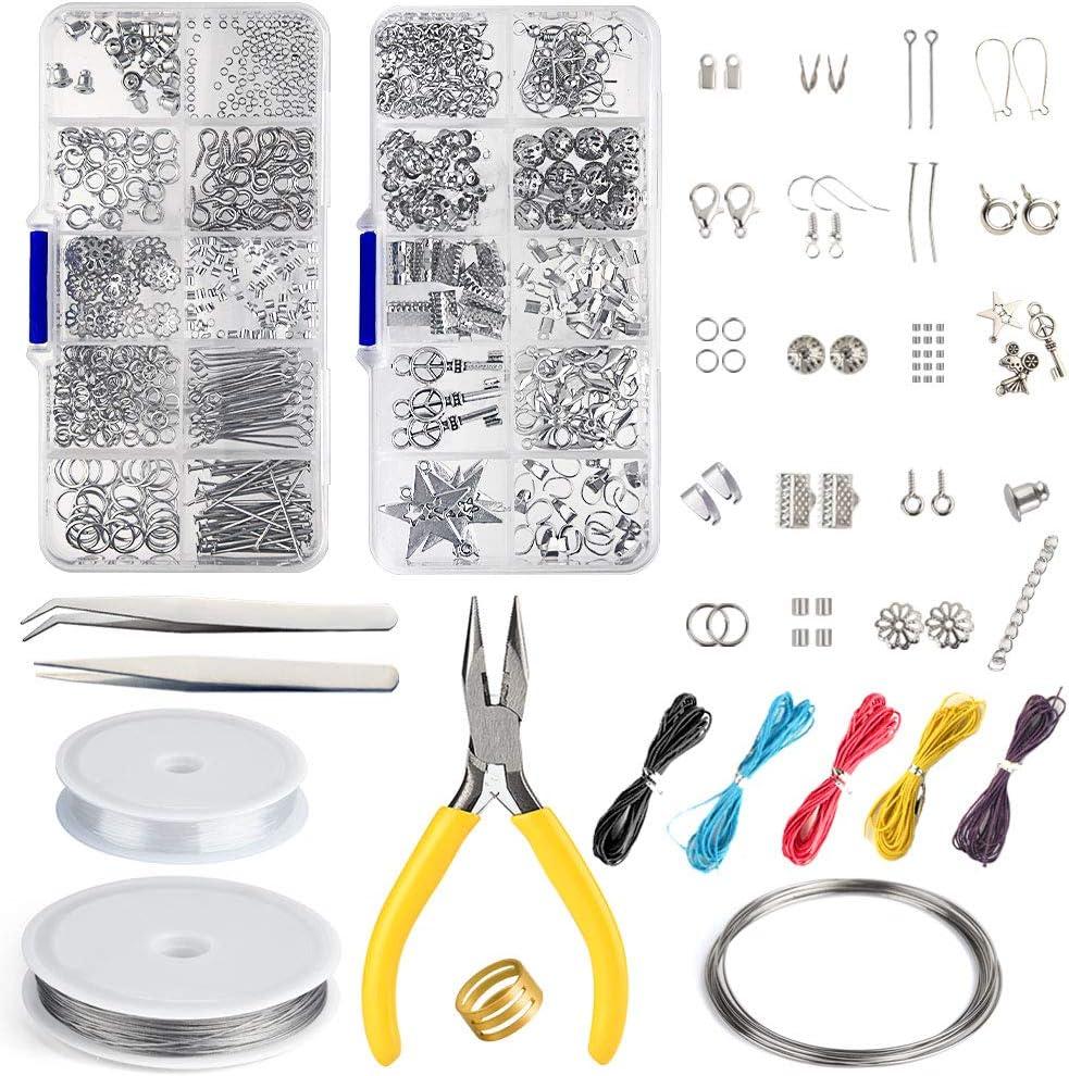 FEPITO Jewelry Making Kit Jewelry Finding Kit de herramientas de arranque con alicates y pinzas para la fabricación de joyas Reparación de artesanías de bricolaje