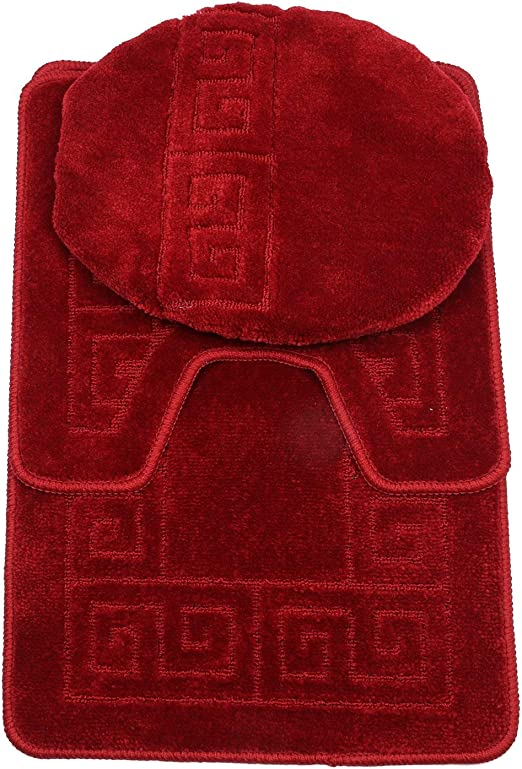 3 Piece Bath Rug Set Pattern Bathroom Rug 20x32large Contour Mat 20x20 With Lid Cover Burgundy