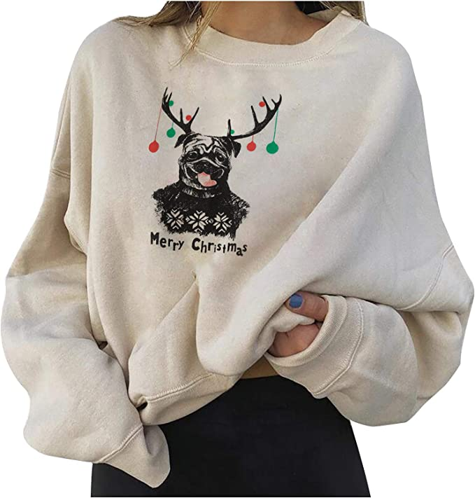 BHGFT Christmas Fashion Sweater for Women, Cute Elk Print Sweater, Casual Long Sleeve Printed Ladies Sweatshirt Tops