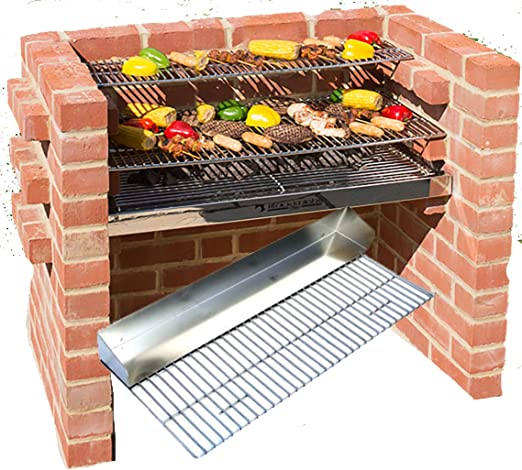 Brick Bbq Kit 100 Very Heavy Stainless Steel Griddle Grill Warming Rack 90 X 39cm Storage Bag Black Knight Bkb301g Amazon Co Uk Garden Outdoors