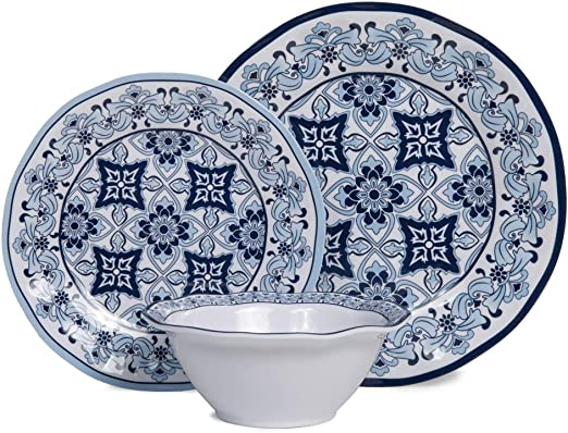 Set of 4 Melamine Dinner Set Plastic Cereal Bowls or Dinner Plates Blue