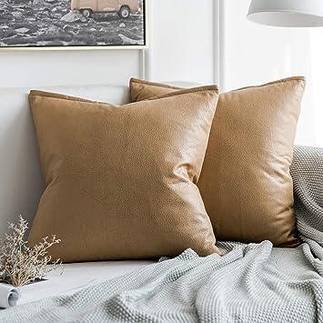 Amazon.com: MIULEE - Juego de 2 fundas de almohada de piel ...