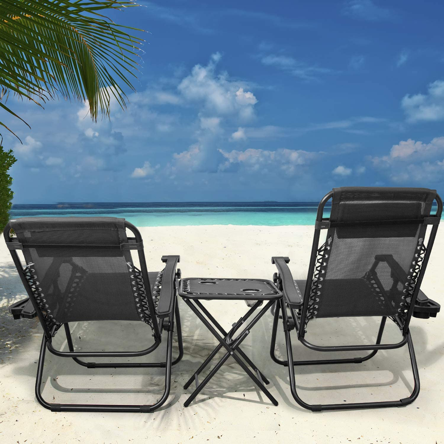 Yard and Camping Flamaker Zero Gravity Chairs Outdoor Folding Recliners Adjustable Lawn Patio Lounge Chair with Side Table and Cup Holders for Poolside Black