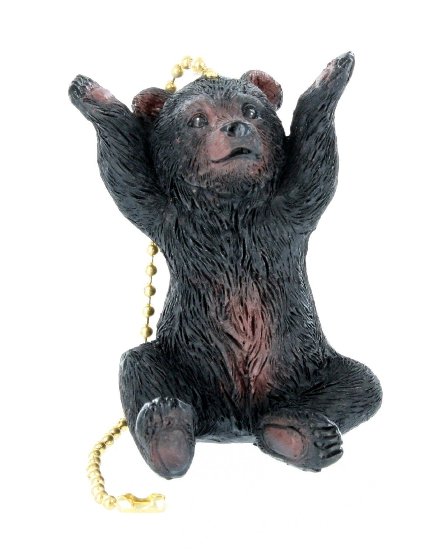 Jumbo Black Bear Ceiling Fan / Light Pull - Touchdown Bear Cub Lodge Cabin Decor