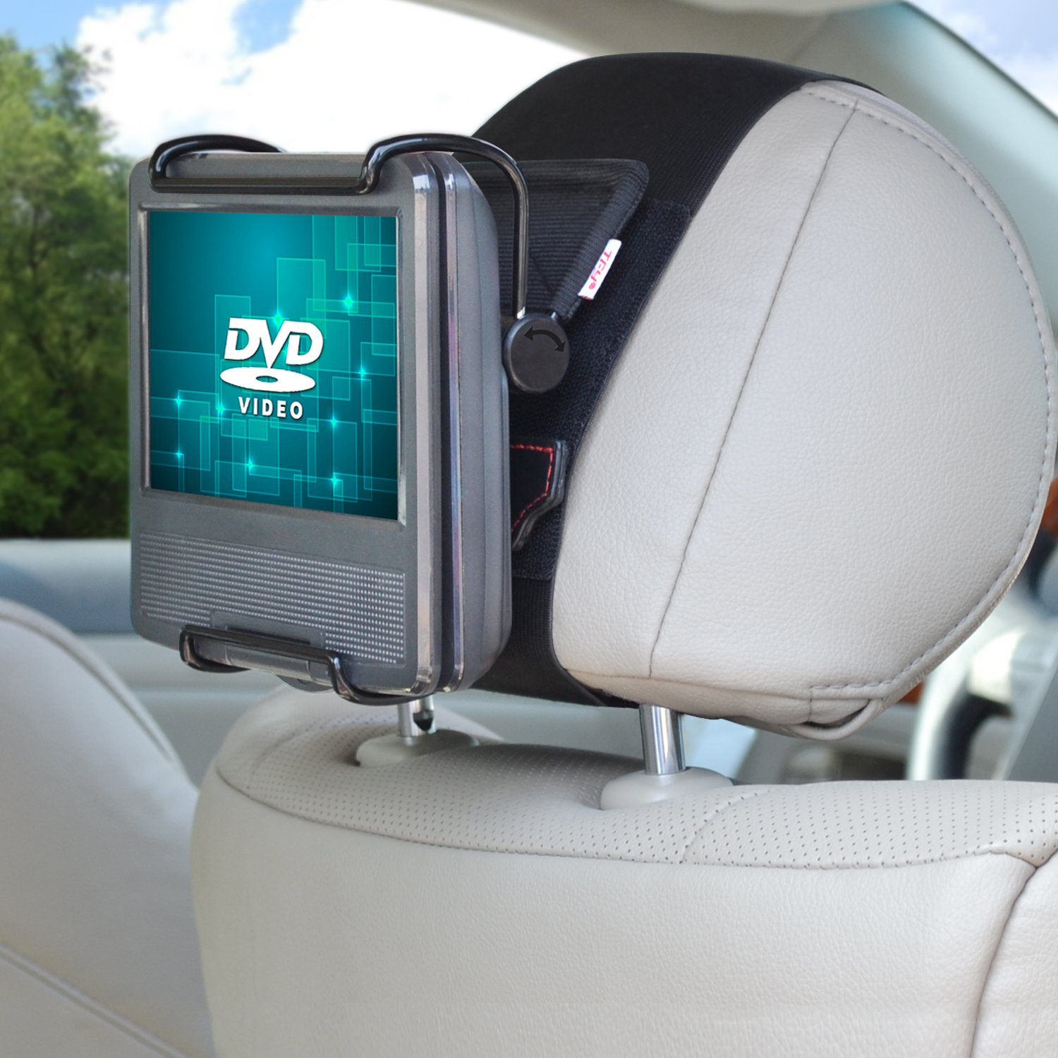 TFY Universal Car Headrest Mount Holder with Angle- Adjustable Holding Clamp for 7-10 Inch Swivel Screen Portable DVD Players, Black by TFY