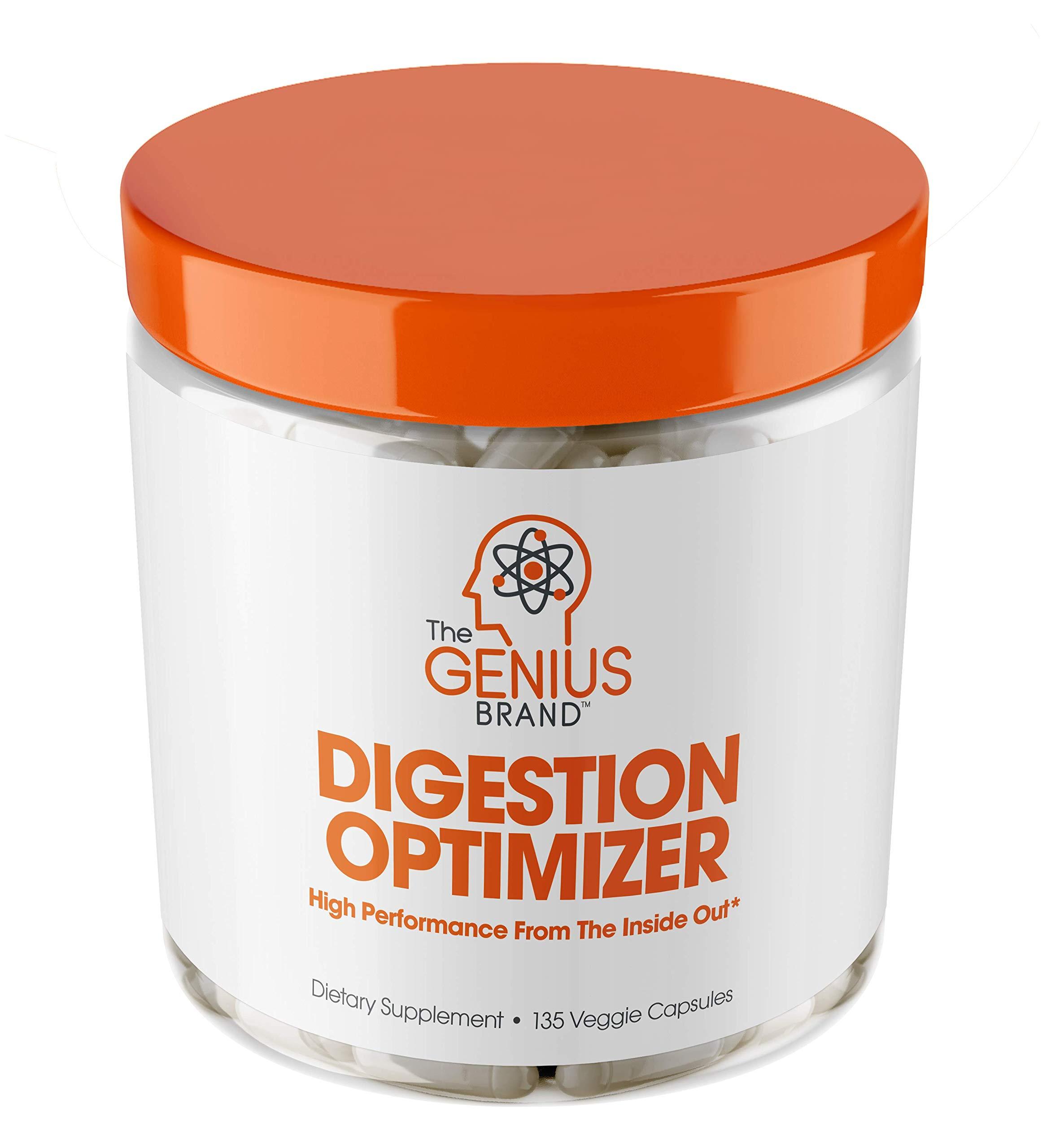 Genius Digestive Enzymes for Digestion & Total Wellness | Restore Gut Heath w/Bromelain, Ginger Root & Prebiotics – Natural Relief Formula for Gas, Heartburn, Constipation | 135 Vegetarian Capsules