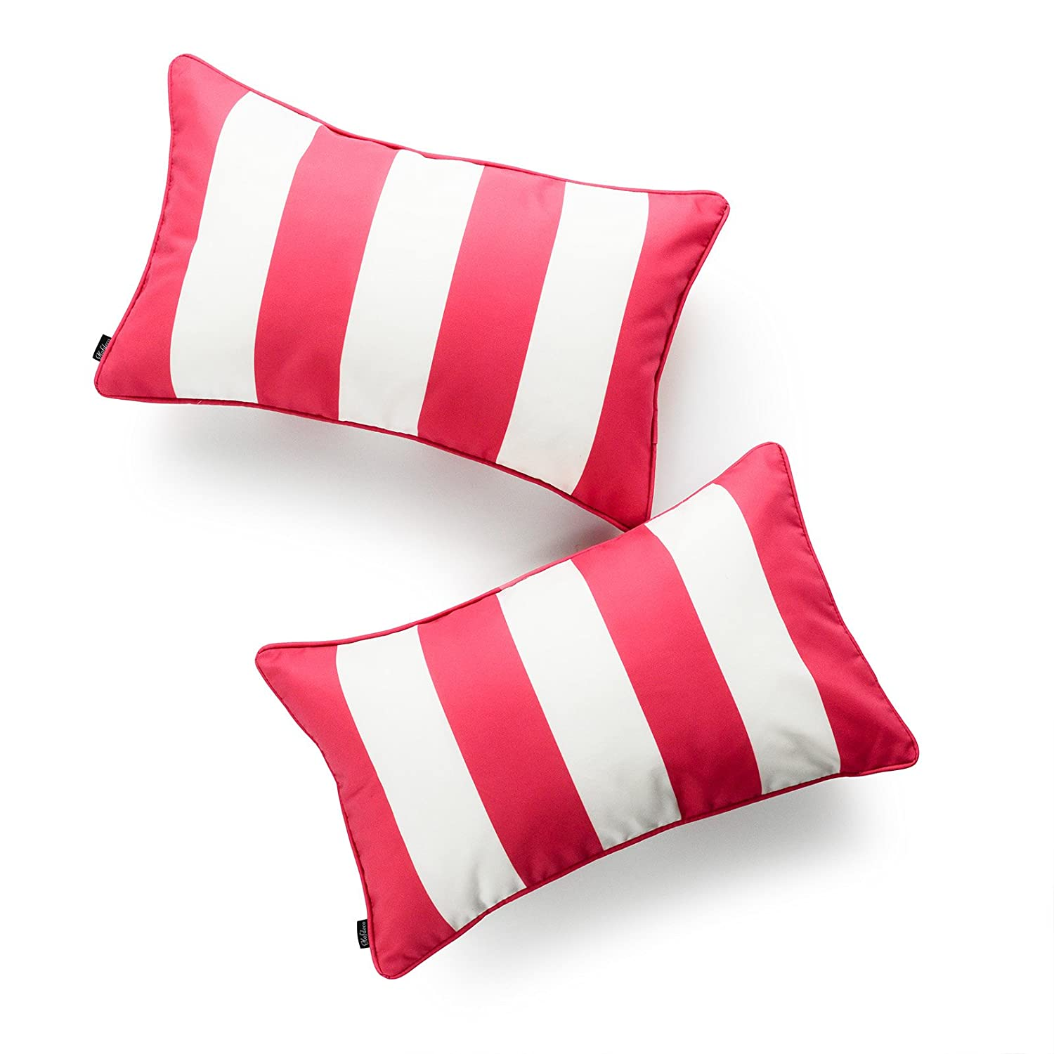 Hofdeco Decorative Lumbar Pillow Cover INDOOR OUTDOOR WATER RESISTANT Canvas Hot Pink Stripes 12 x20 Set of 2