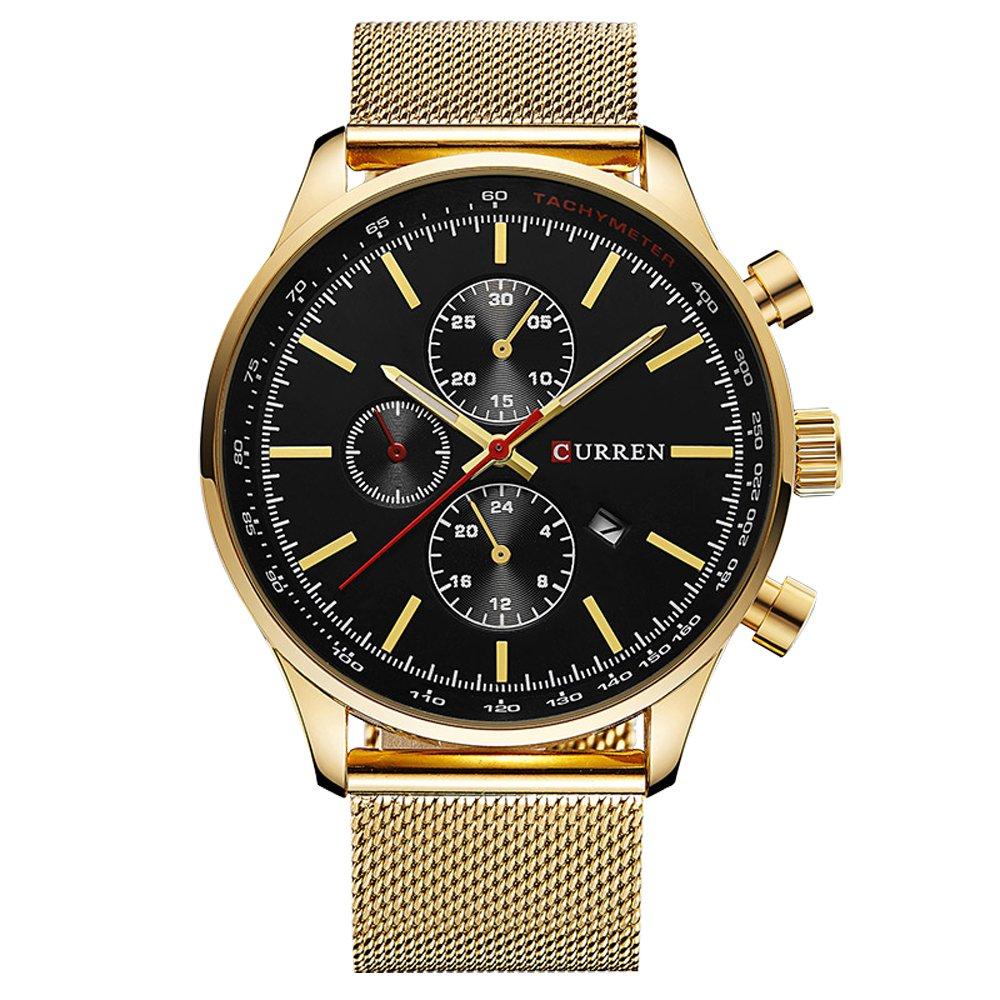 CURREN Watches Mens Brand Luxury Stainless Steel Quartz Watch Men Casual Waterproof Clock Men Sport Wristwatch (gold black)