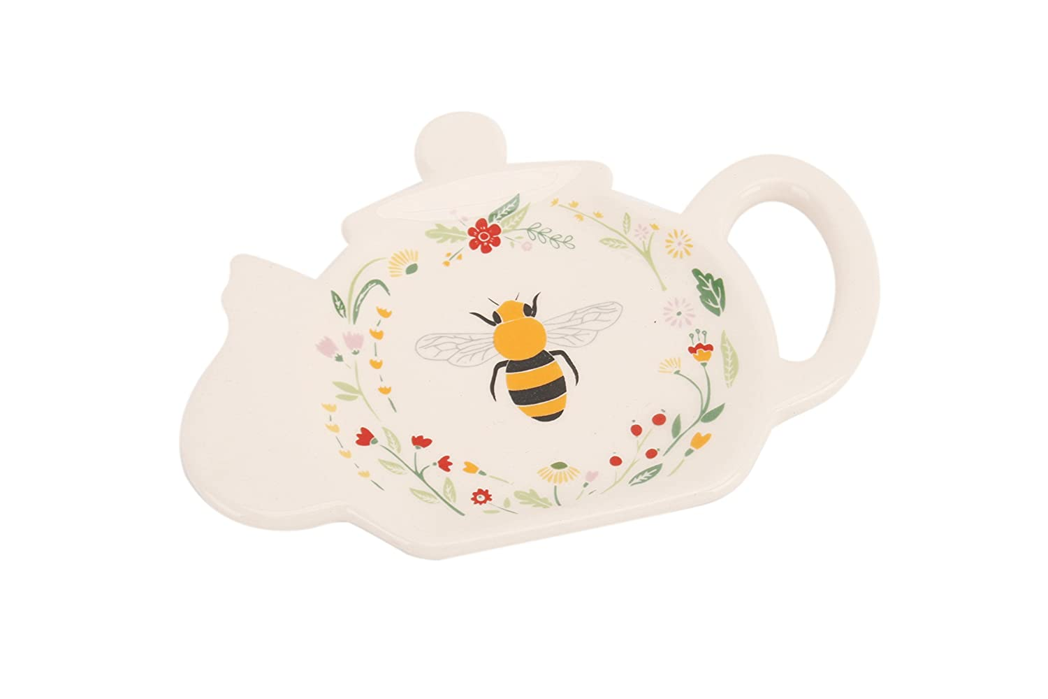 BUSY BUMBLE BEE - Colourful Ceramic Teapot Shaped Teabag Tidy / Teabag Holder CGB