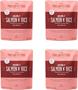 Portland Pet Food Company – Natural Wet Dog Food Pouches – Human-Grade, Gluten-Free Mixer or Dog Food Topper, Made in The USA Dog Food (Wally's Salmon 4-Pack)