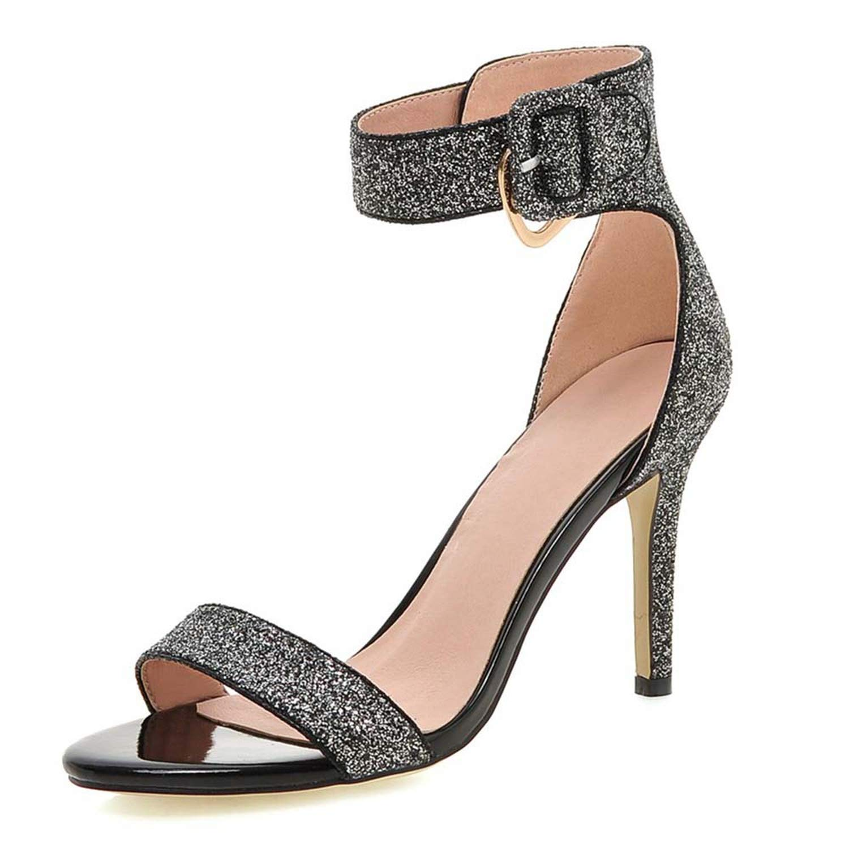 Black Summer Ankle Strap Toe High Stilettos Heels Buckle Strap Black Silver Sandals