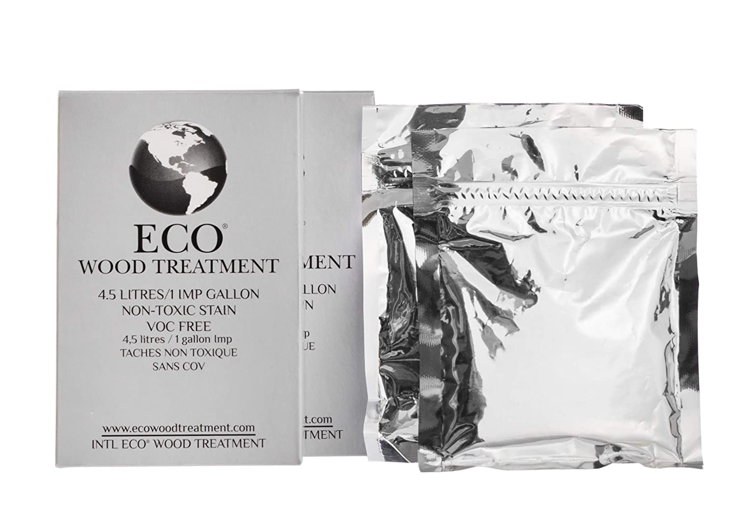 Eco Wood Treatment 1 US Gallon, Long Lasting, Silvery Patina, Semi-Transparent (2 Pack)