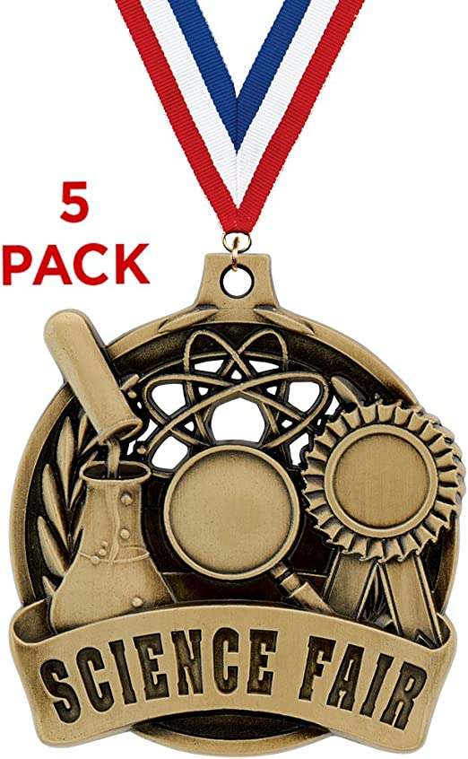 2 1//2 Silver Glitter Science Education Academic Medals Great Student Awards Prime STEM Medal