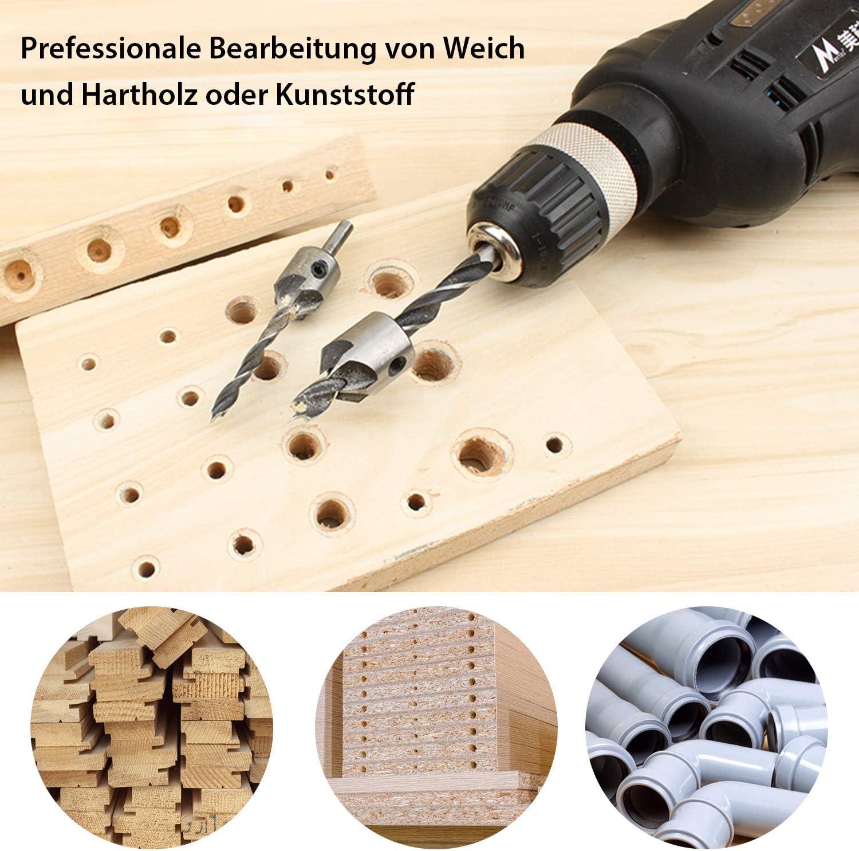 CHISTAR Holzbohrer Holzspiralbohrer Set 7-teiliges mit Verstellbarem Aufstecksenker//Tiefenstopp