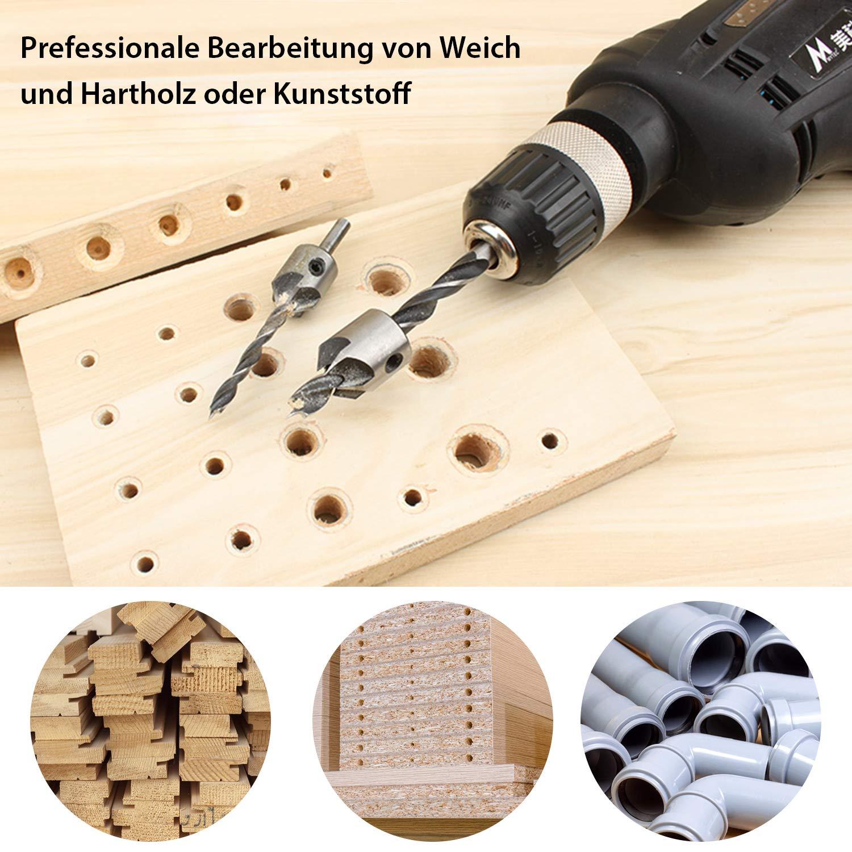 CHISTAR Juego de brocas en espiral para madera 7 piezas, con avellanador ajustable