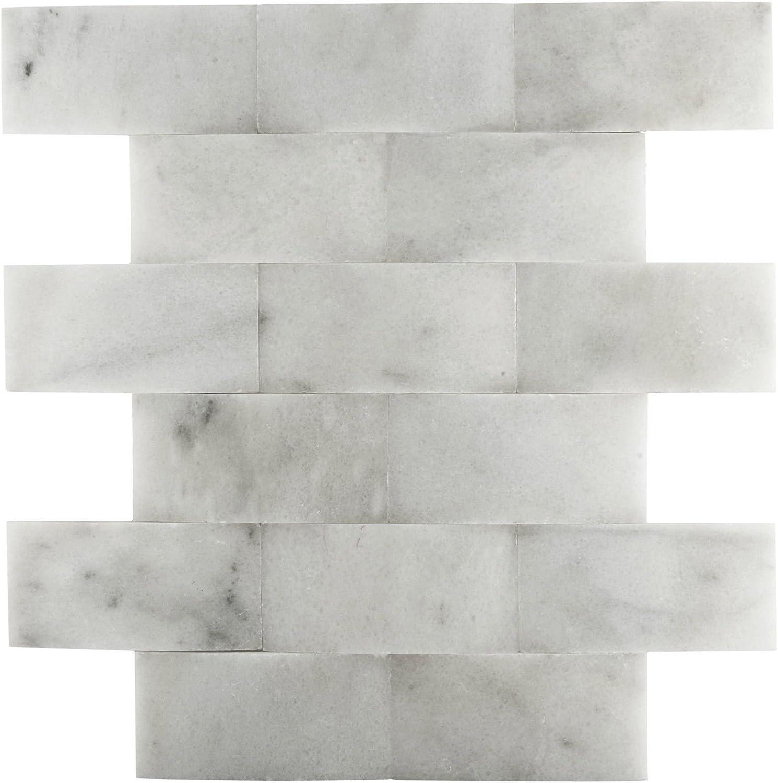 - Carrara 2x4 Wavy Marble Mosaic Wall Backsplash Tile - - Amazon.com