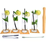 Essentials Mojito Set with Glasses, Coasters, Muddler, Ice Tongs and Cocktail Mixing Spoon