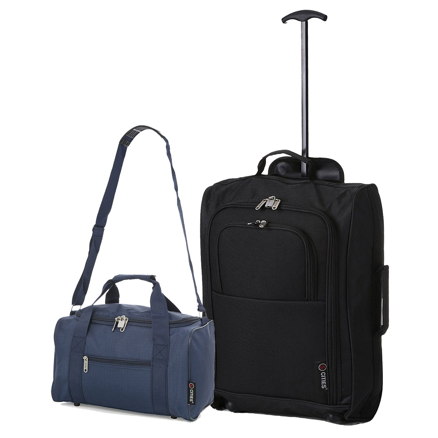 5 Cities Ryanair Cabin Approved Main and Second Set Carry On BothHand Luggage, 54 cm, 42 L, Black TB023-830Blk+Hold601BlkV1