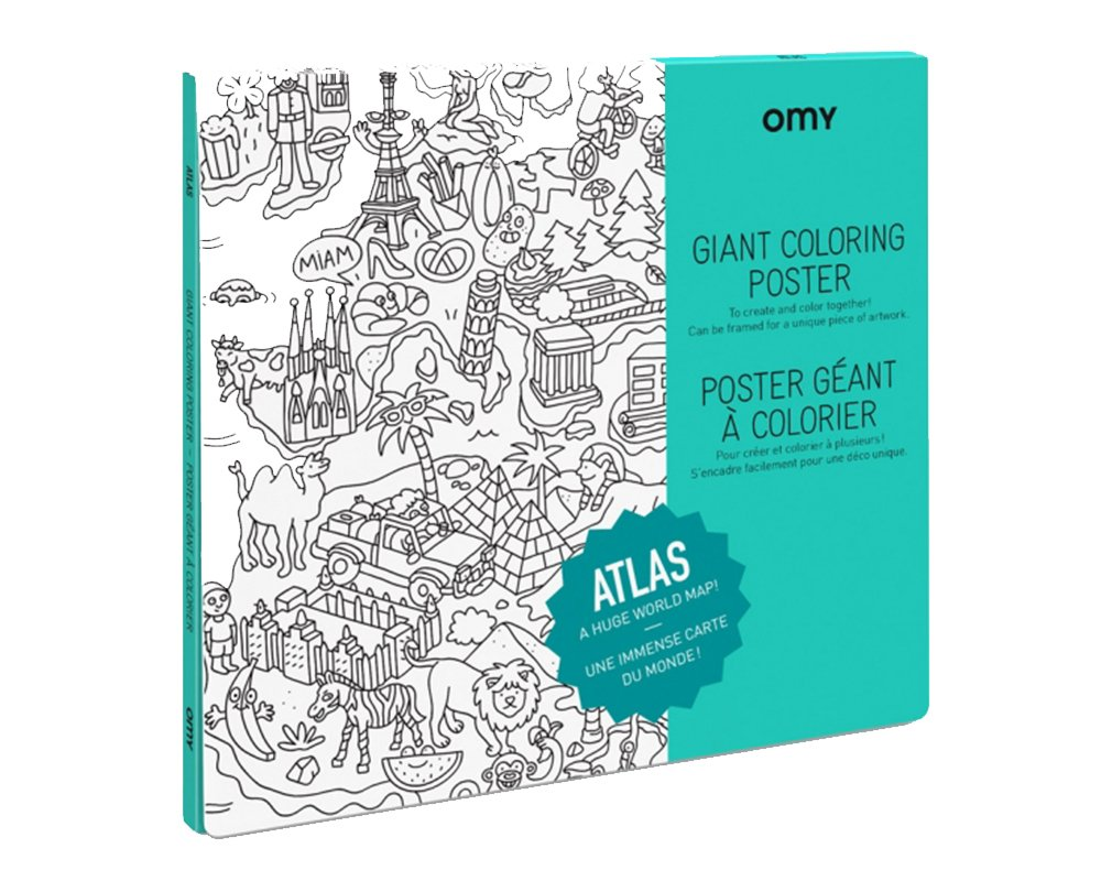 Amazoncom Omy Design Play World Atlas Giant Coloring Poster