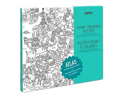OMY Póster para Colorear Atlas Grande, Papel, 40,4 x 26 x 24 cm ...