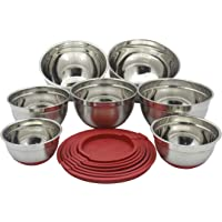 Checkered Chef Stainless Steel Mixing Bowls Set of 7 - XL to Small - Nesting Stackable Stainless Steel Bowls with Lids…