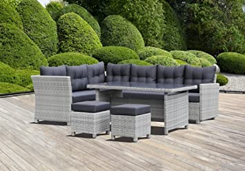 Amazon.de: greemotion 129482 Rattan Lounge Set TOSCANA-Loungemöbel ...