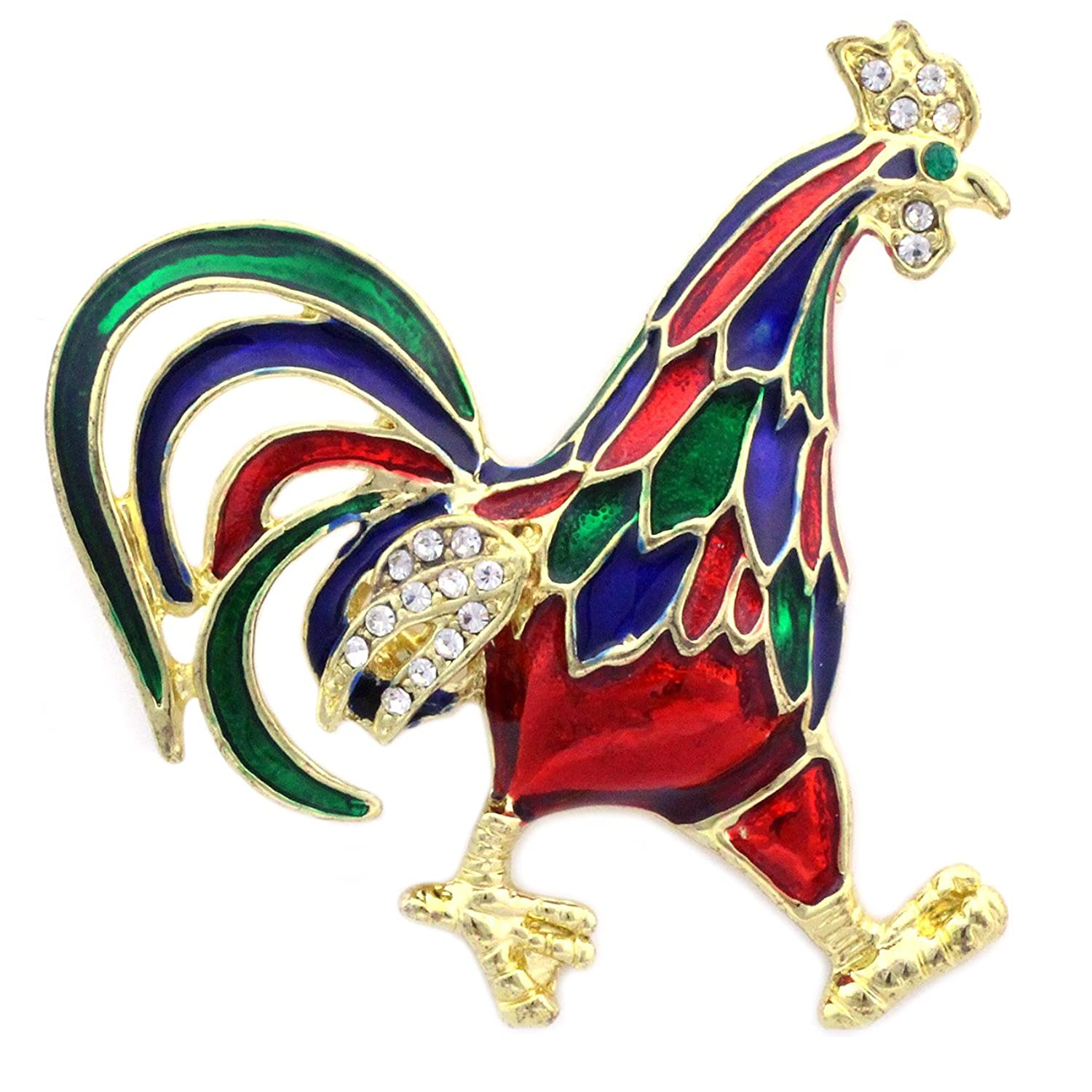 Colorful Chicken Rooster Cock Brooch Pin Women Fashion Jewelry