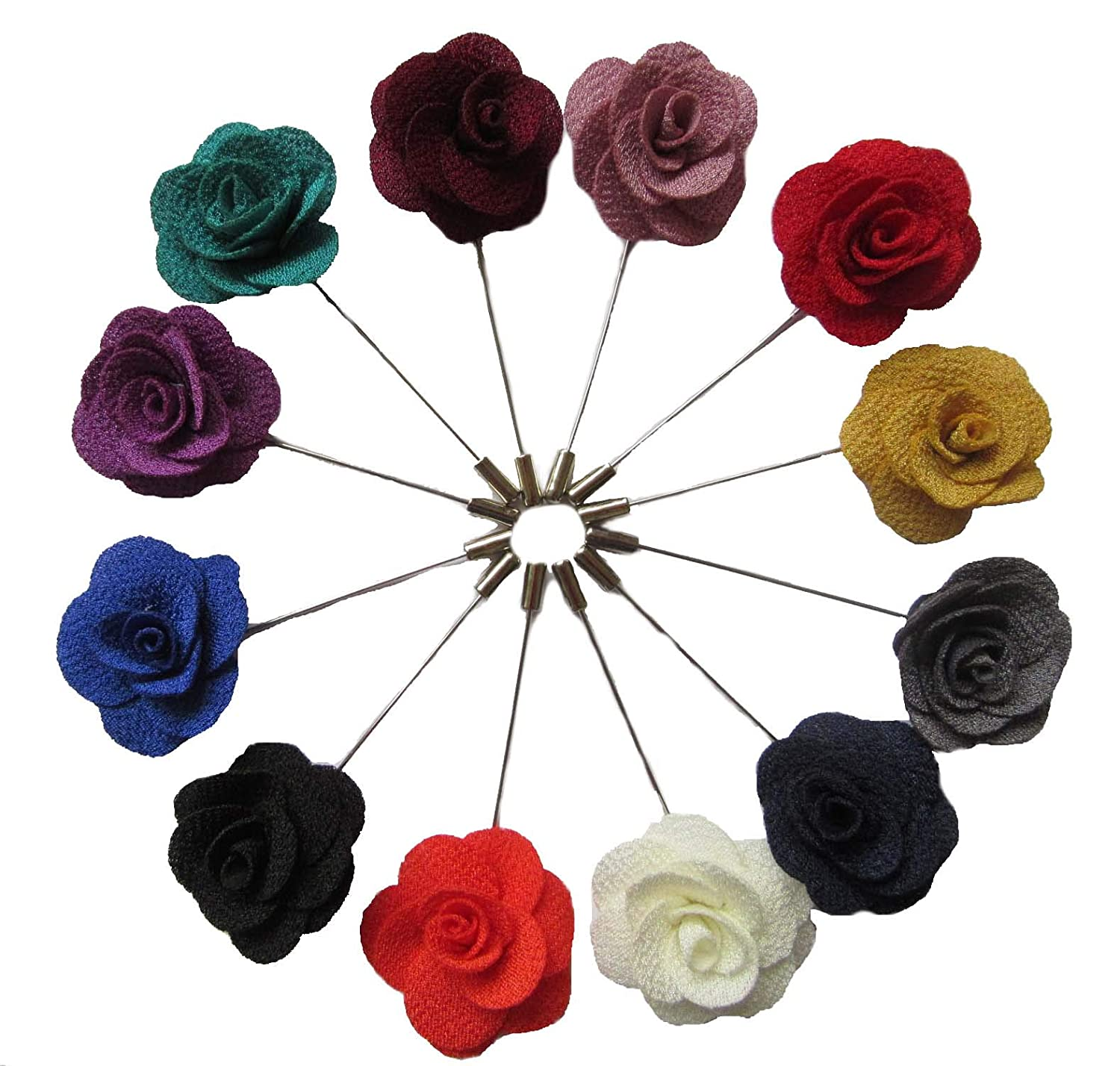 10 pcs Fabric Rose Boutonniere Pins,YYCRAFT Mens Flower Lapel Pins for Party Business Wedding Suit