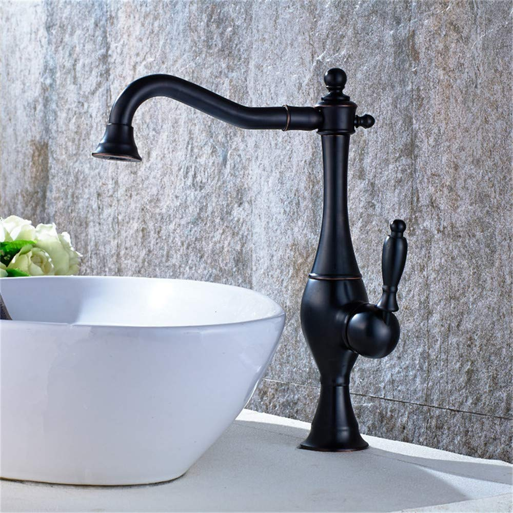 YAWEDA Copper Cold and Hot Water Mixer Faucet Tub Shower Faucet Table Bathroom Sink Faucet Cold and Hot Water Mixer Hotel Bathroom Faucet Single Connection