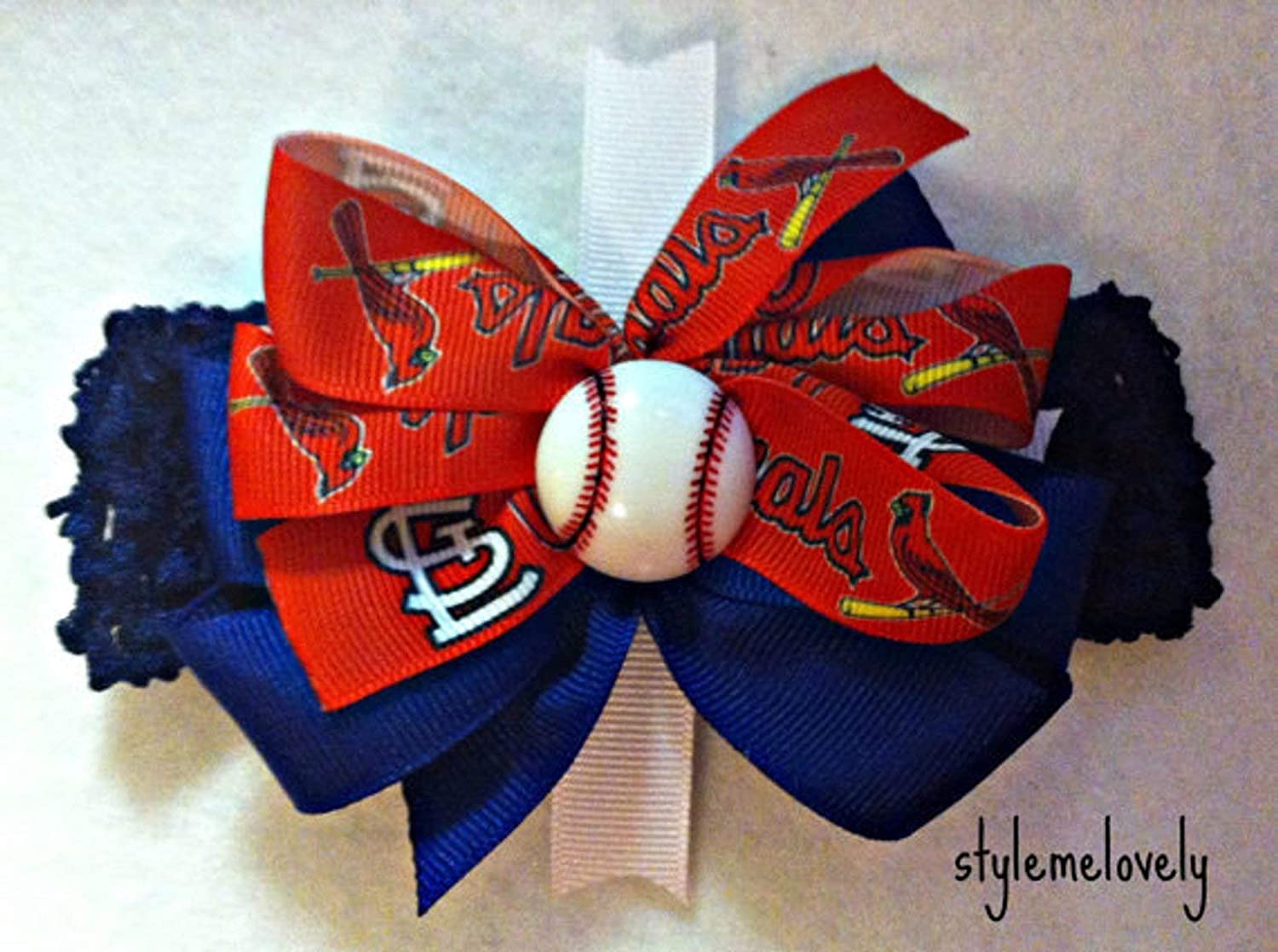 St Louis Cardinals Baby Girl Boutique Bow Crocheted Headband