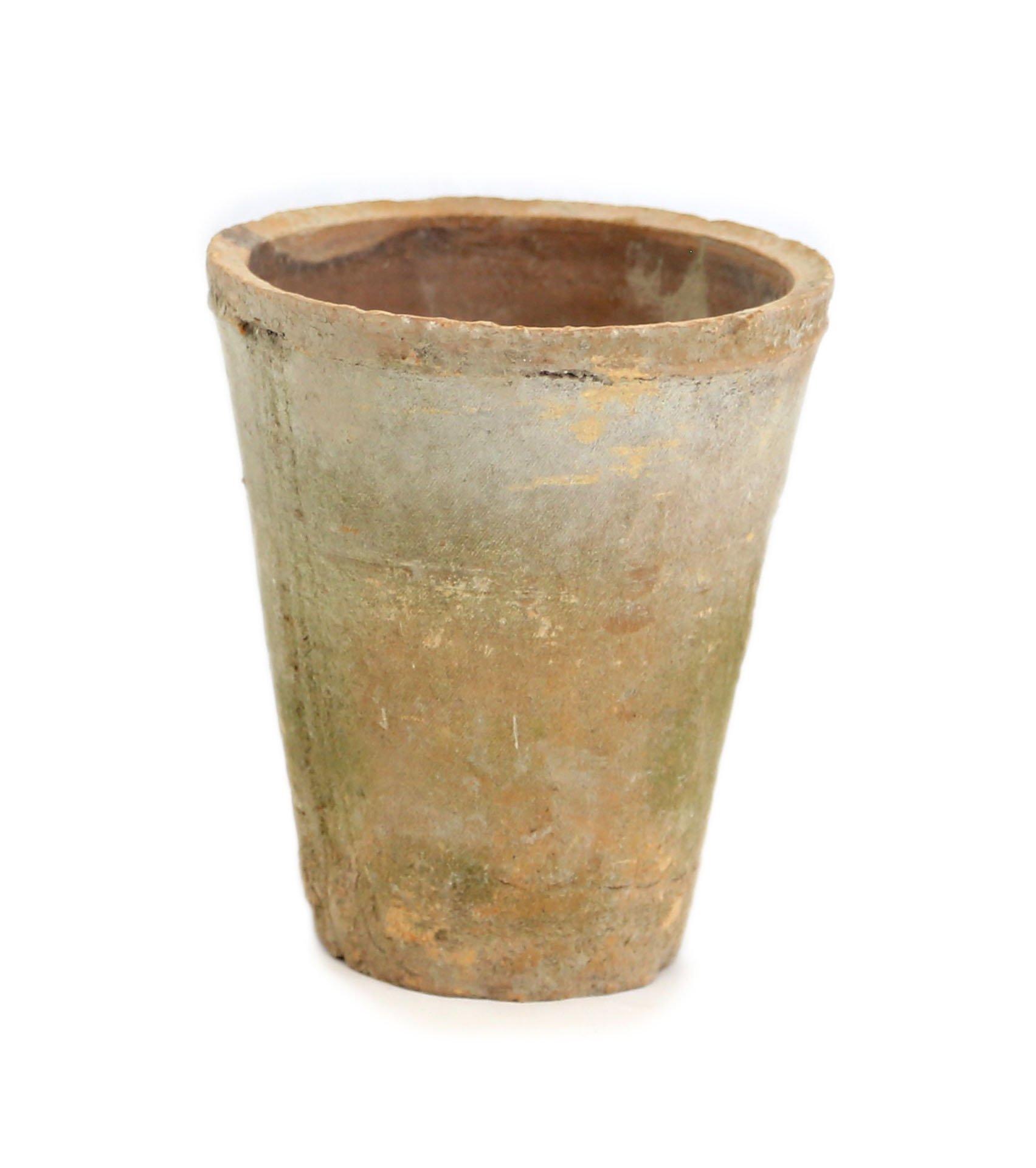 Large Antique Terracotta Rose Pot With Algae
